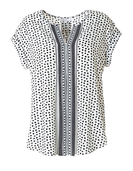 White Printed Pleated Front Blouse, White, hi-res