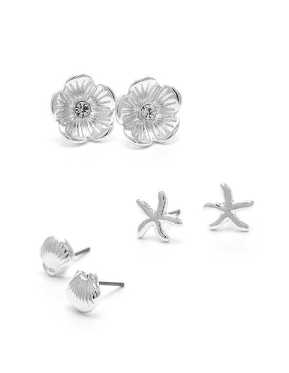 Small Sea Shape Earring Trio, Silver, hi-res
