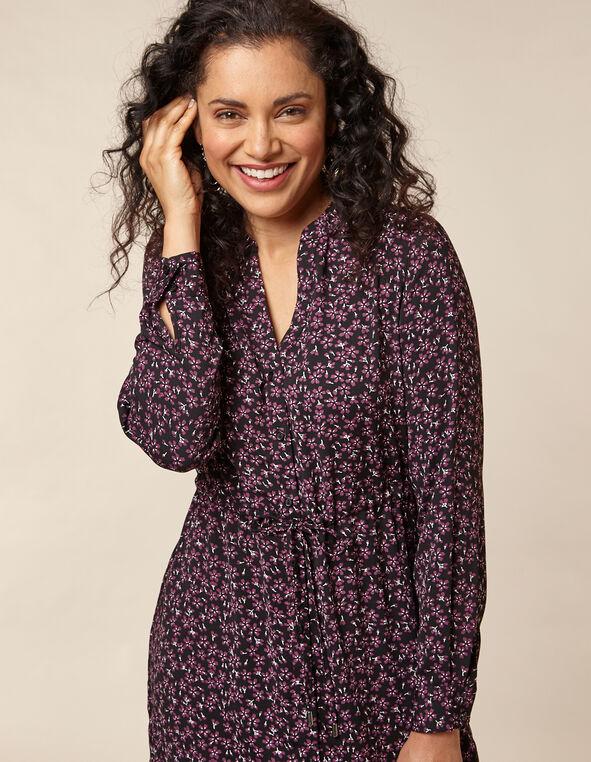 Berry Floral Shirt Dress, Purple/Berry