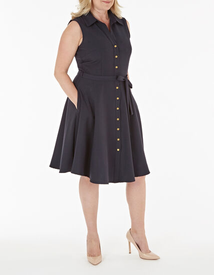 Navy Button Up Fit & Flare Dress, Navy, hi-res