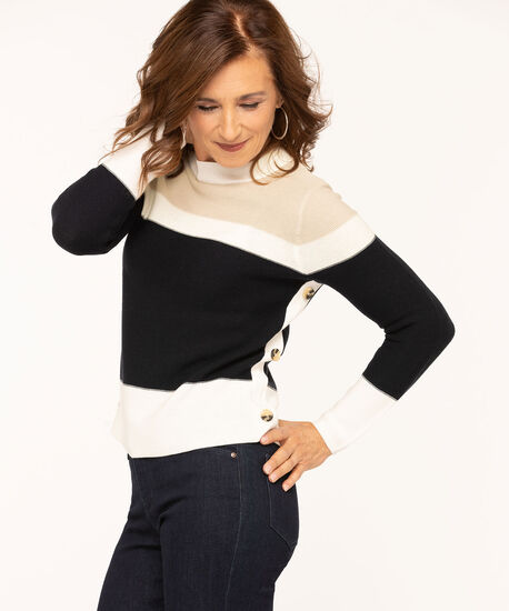 Colourblock Button Trim Pullover Sweater, Navy/ Ivory/Tan, hi-res