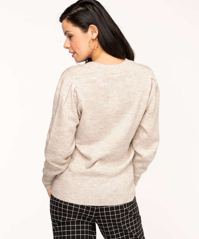 V-Neck Puff Shoulder Sweater, Oatmeal Mix