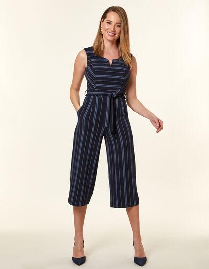 Navy Stripe Crepe Jumpsuit, Navy, hi-res