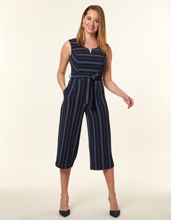 Navy Stripe Crepe Jumpsuit, Navy, hi-res