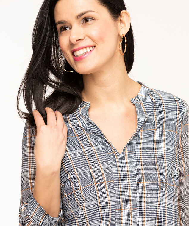 Plaid 3/4 Woven Sleeve Top, Navy/Gold/Ivory