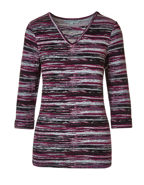 Sangria Striped Printed Hacchi Top, Sangria, hi-res