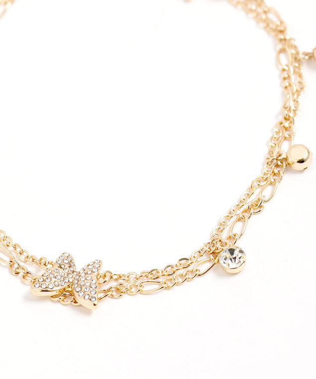 Gold Chain Butterfly Anklet, Gold