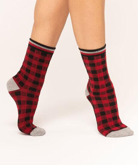 Red Buffalo Check Crew Sock, Red/Black/Grey, hi-res