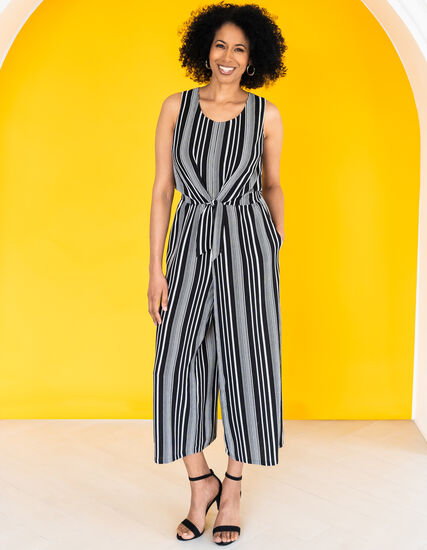 Black & White Striped Jumpsuit, Black/White, hi-res