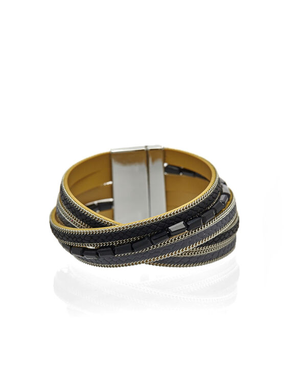 Black Magnetic Wrap Bracelet, Black, hi-res