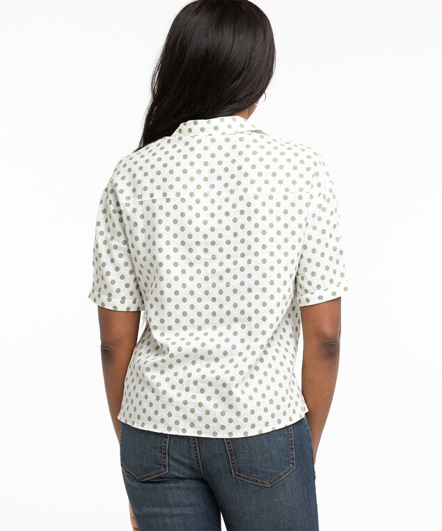 Short Sleeve Button Front Blouse, Ivory/Pesto Dot