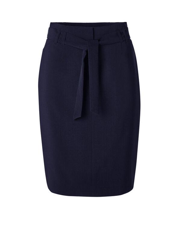 Navy Belted Pencil Skirt, Navy, hi-res