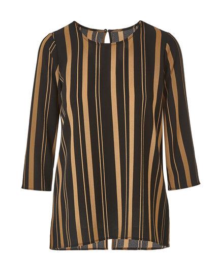 Camel Striped Blouse, Tan/Black, hi-res