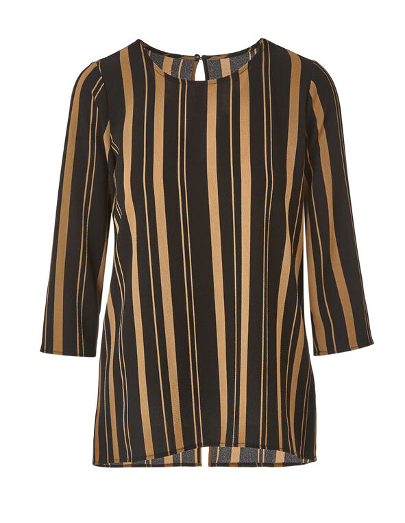 Camel Striped Blouse, Tan/Black, hi-res