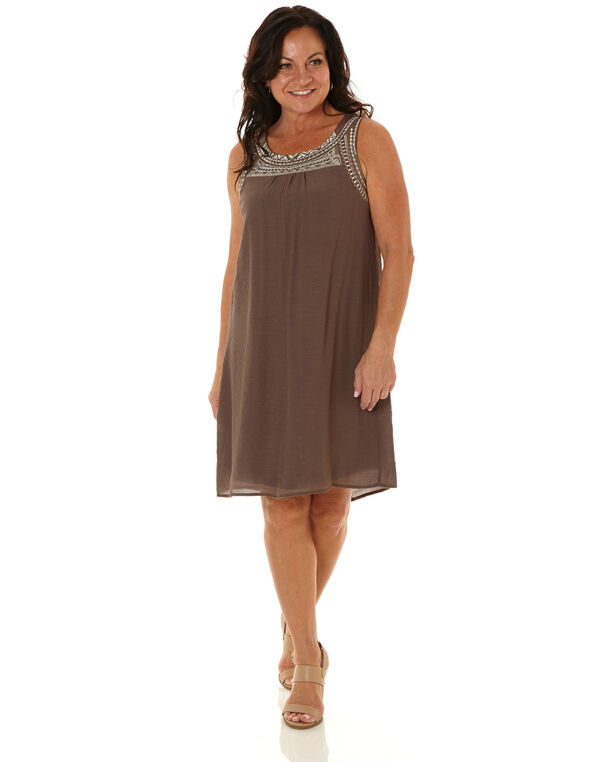 Taupe Embroidered Gauze Dress, Taupe, hi-res
