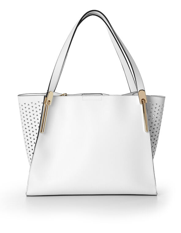 White Two-In-One Tote, White, hi-res