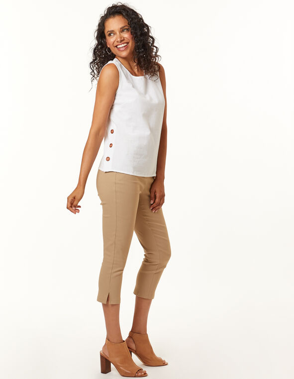 Wood Button Blouse, White, hi-res