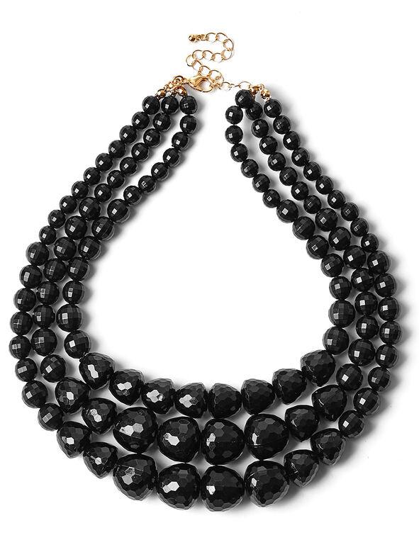 Black Short Faceted Bead Necklace, Black, hi-res