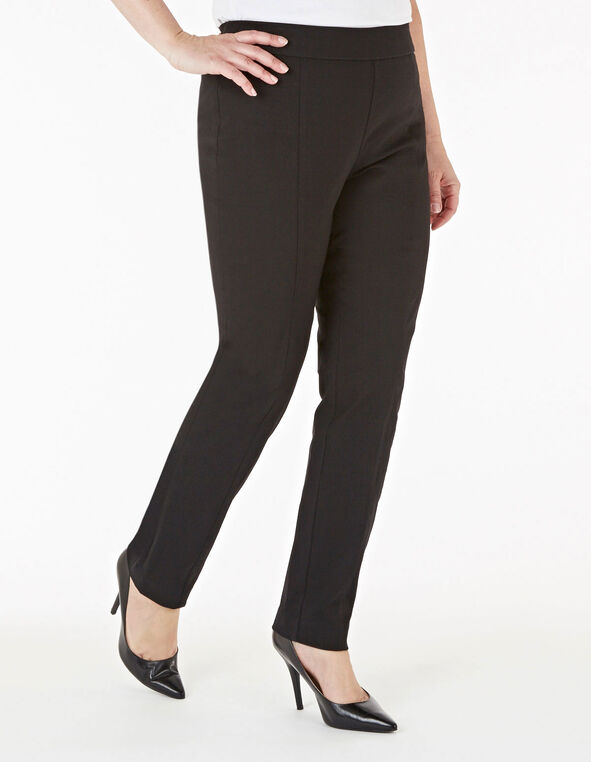 Black Long Pull On Slim Pant, Black, hi-res