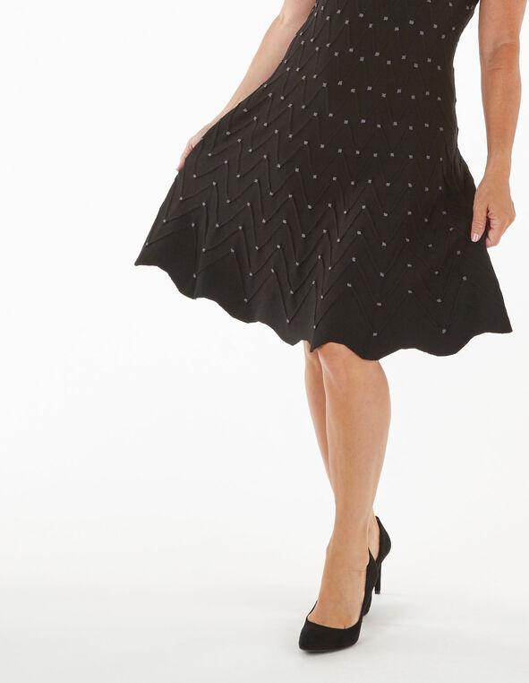 Black Fit & Flare Sweater Dress, Black, hi-res