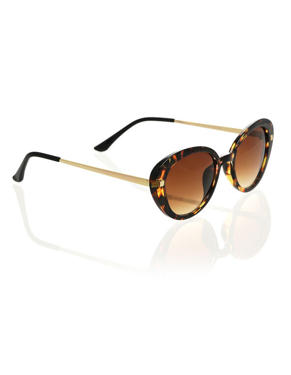 Tortoise Oval Frame Sunglasses, Brown, hi-res