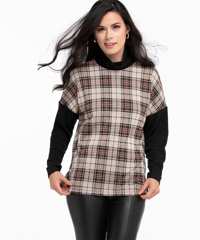 Jacquard Knit Long Sleeve Top, Oatmeal/Black/Rust Plaid
