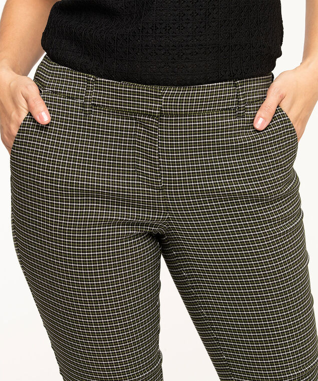 Plaid Butt Lift Slim Ankle Pant, Green Plaid