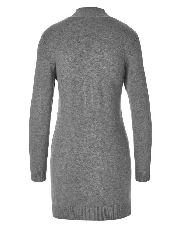 Grey Draped Open Cardigan, Medium Grey, hi-res