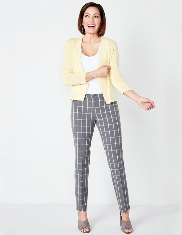 Grey Windowpane Ankle Pant, Grey, hi-res