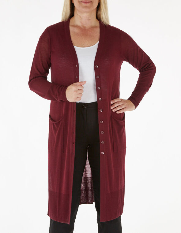 Wine Long Button Down Cardigan, Wine, hi-res