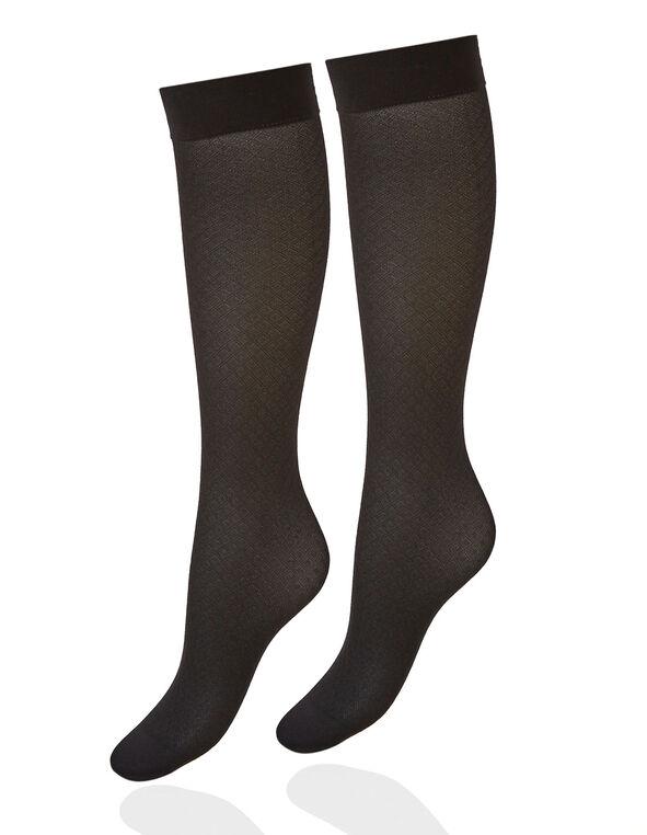 Black Patterned Trouser Sock, Black, hi-res