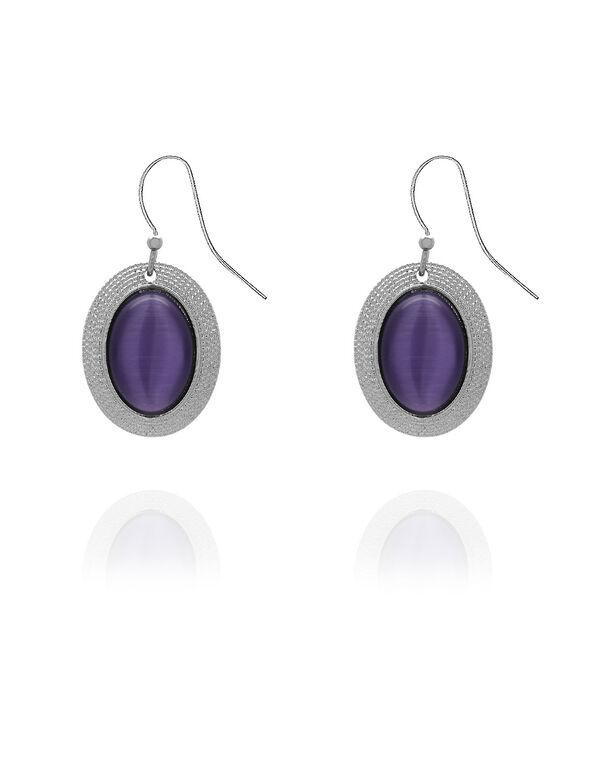 Purple Oval Cat Eye Earring, Purple, hi-res