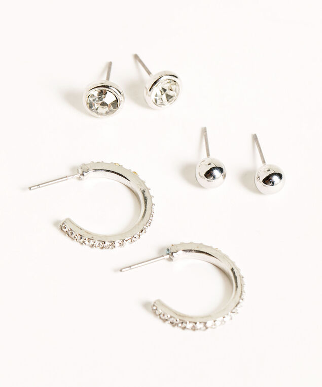 Crystal Trio Earring Set, Silver, hi-res