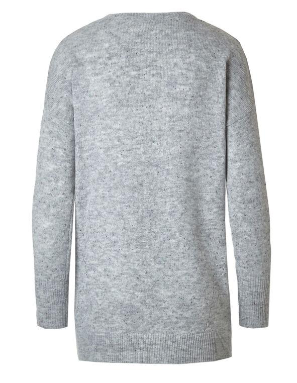 Grey Nep Knit Sweater, Grey, hi-res