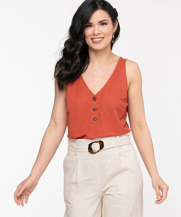 Sleeveless V-Neck Button Front Top, Cayenne