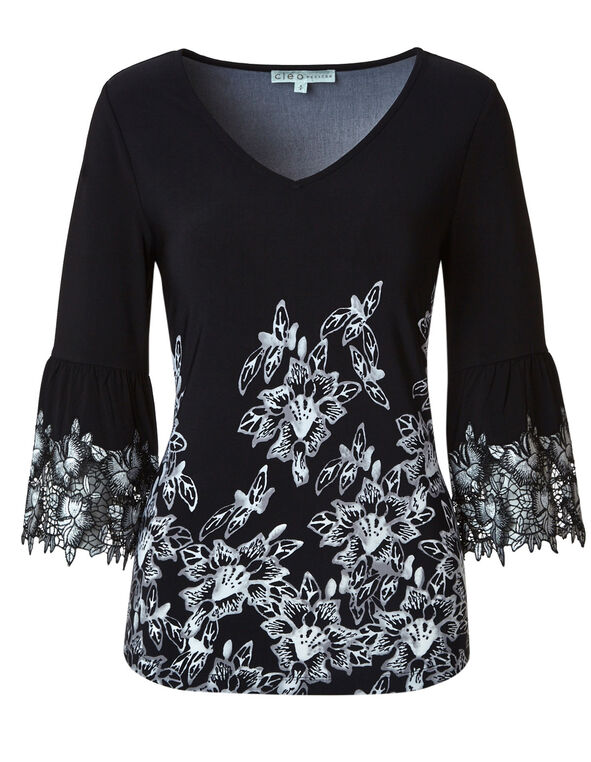 Black Floral Lace Sleeve Top, Black, hi-res