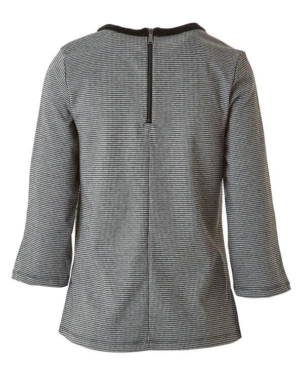 Grey Plaid Velvet Neck Top, Grey, hi-res