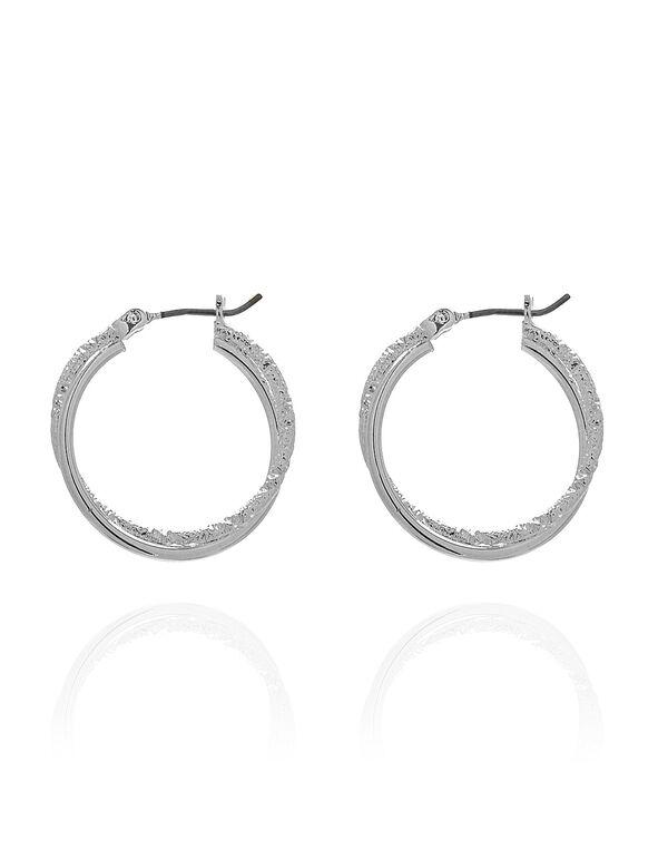 Silver Textured Hoop Earring, Silver, hi-res