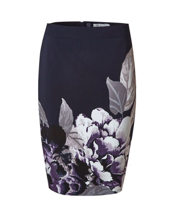 Navy Floral Pencil Skirt, Navy/Purple, hi-res