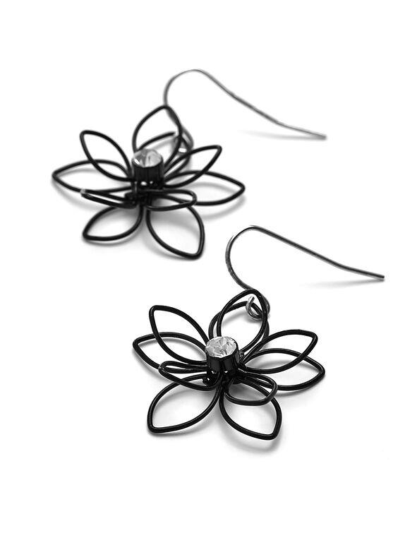 Black Flower Earring, Black, hi-res