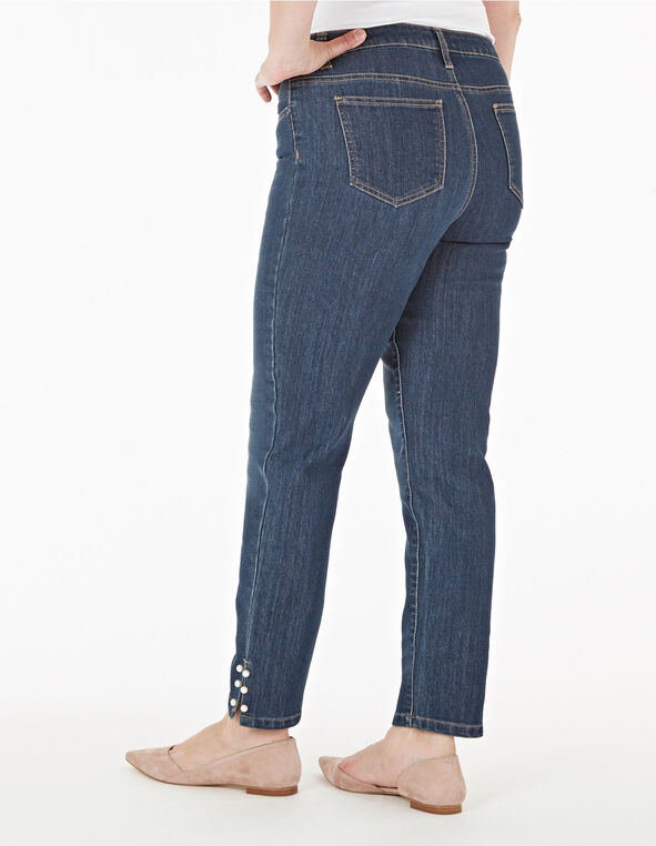 Pearl Detail Ankle Jeans, Denim, hi-res