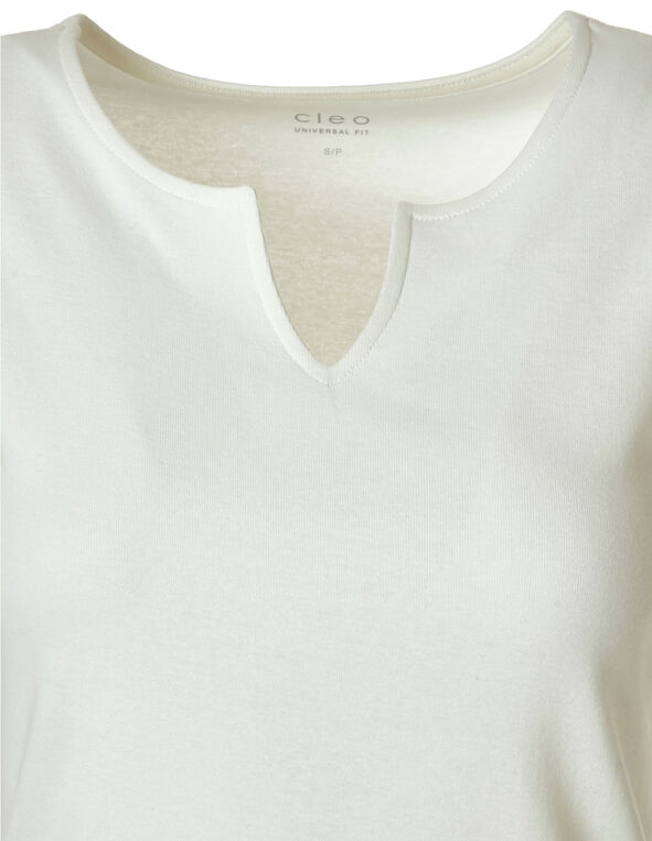 Ivory Cotton Sleeveless Tee, Ivory, hi-res