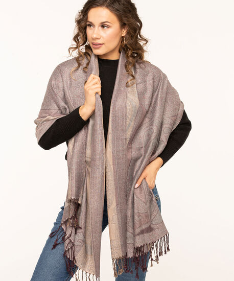 Soft Paisley Oblong Scarf, Mulberry Mix, hi-res