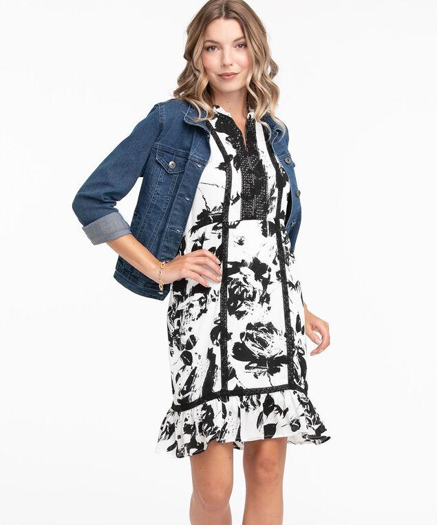 Sleeveless Crochet Trim Dress, Black/White