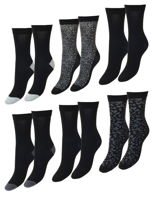 Black and Grey Crew Socks, Black, hi-res