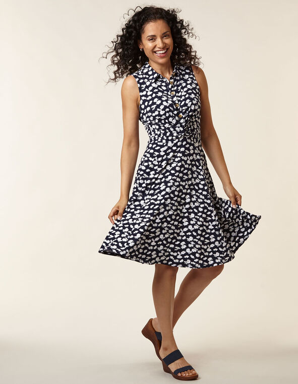 Navy Daisy Fit & Flare Dress, Navy, hi-res