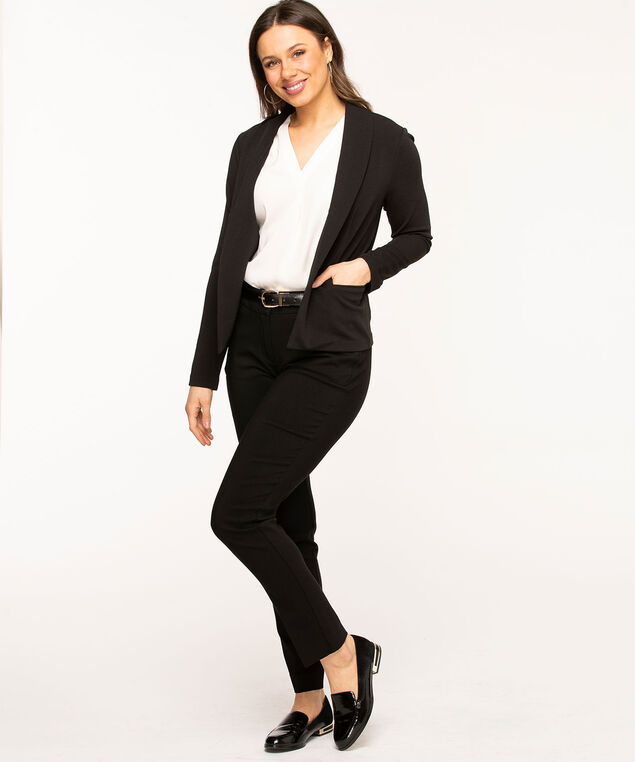Black Long Sleeve Open Blazer, Black