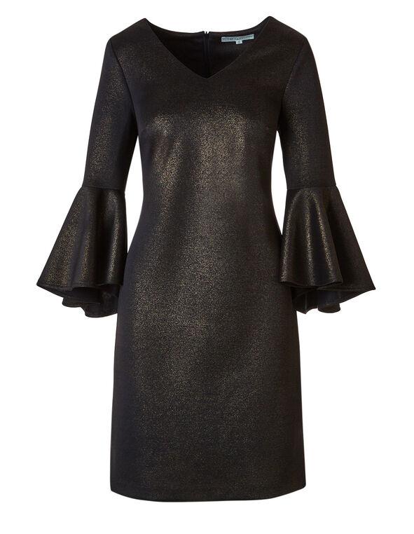 Black Foil Shift Dress, Black, hi-res