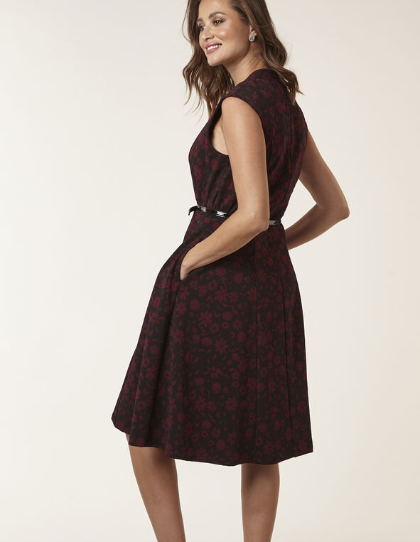 Merlot Floral Jaquard Fit & Flare Dress, Merlot, hi-res