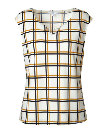 Chain Detail Plaid Top, White, hi-res